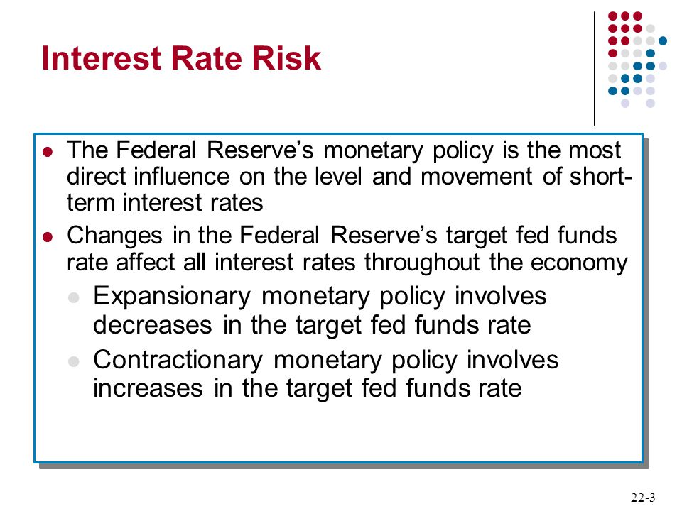 Interest Rate Risk The Federal Reserve's monetary policy is the most direct influence on the level and movement of short-term interest rates.