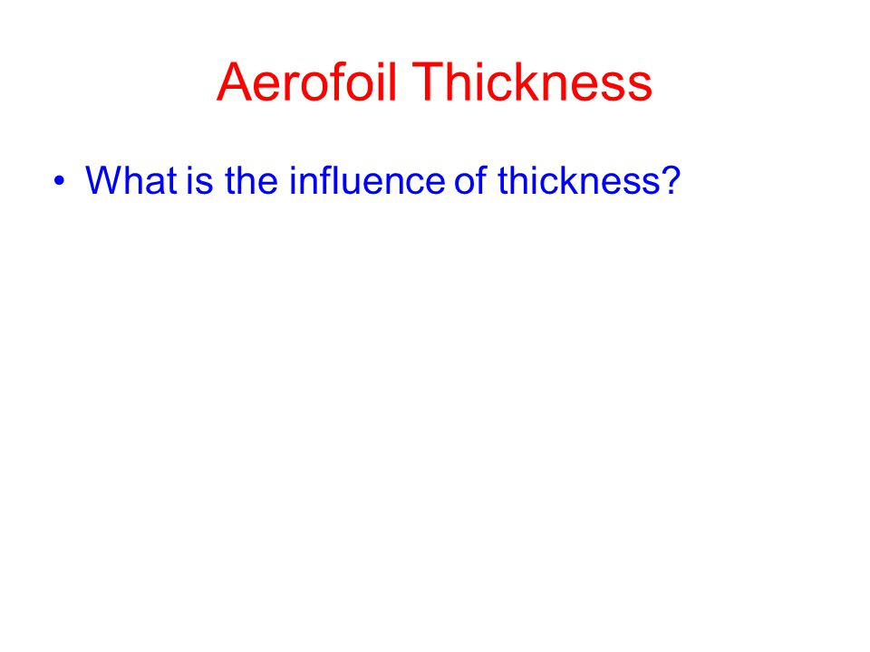 Aerofoil Thickness What is the influence of thickness