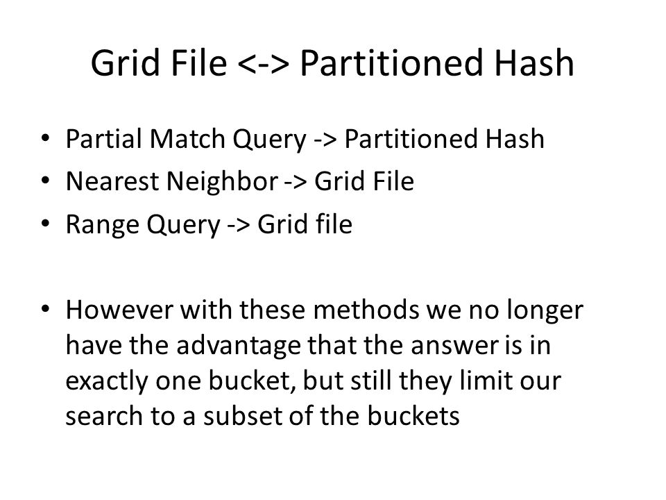 Grid File <-> Partitioned Hash