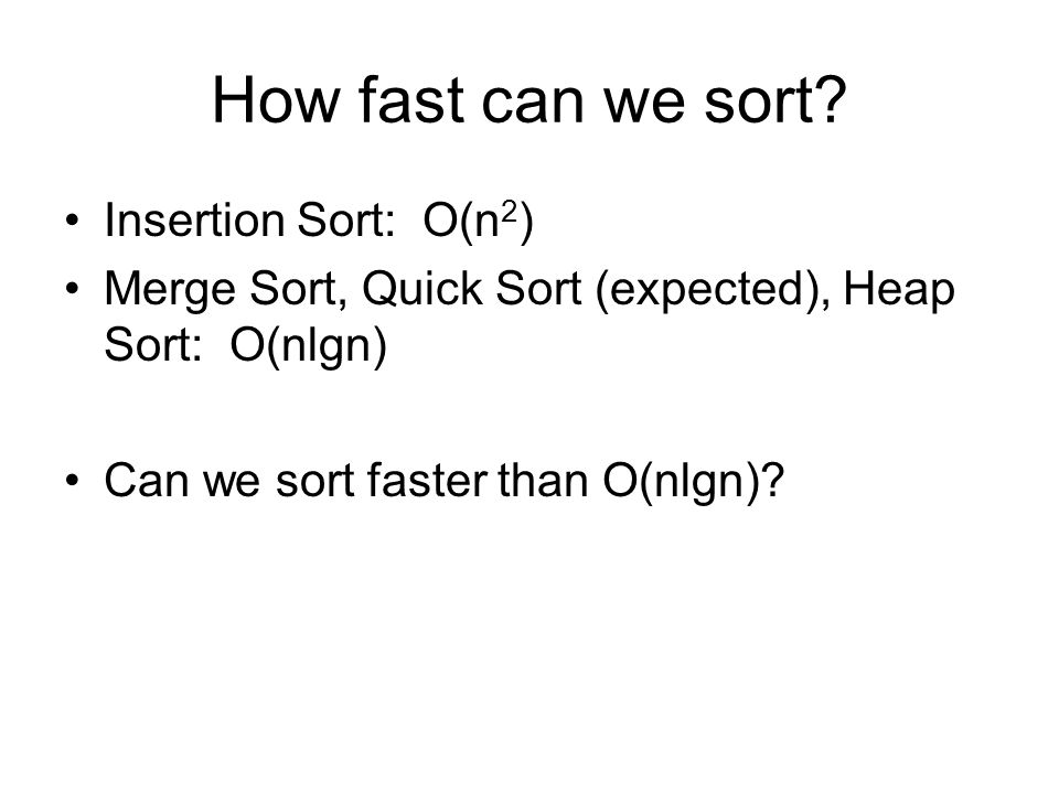 How fast can we sort Insertion Sort: O(n2)