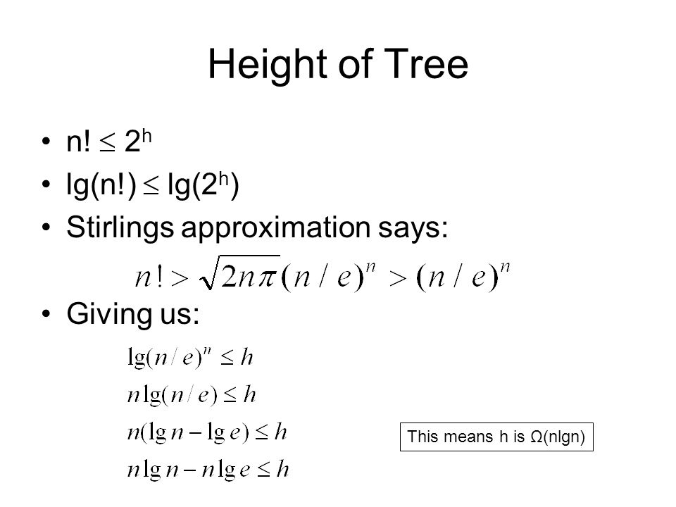 Height of Tree n!  2h lg(n!)  lg(2h) Stirlings approximation says: