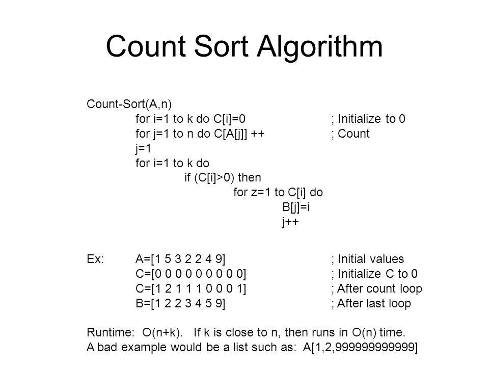 Count Sort Algorithm Count-Sort(A,n)