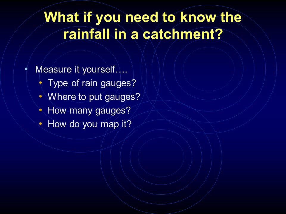 What if you need to know the rainfall in a catchment