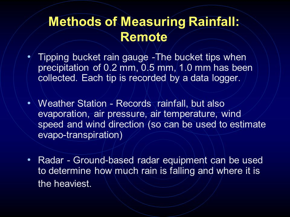 Methods of Measuring Rainfall: Remote
