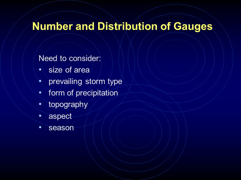 Number and Distribution of Gauges