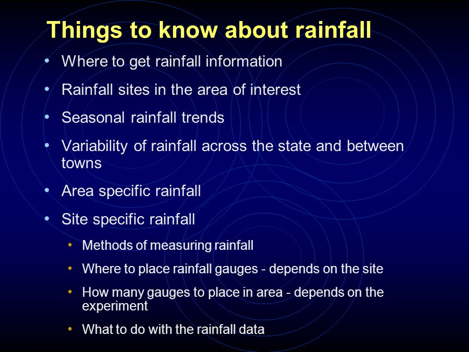 Things to know about rainfall