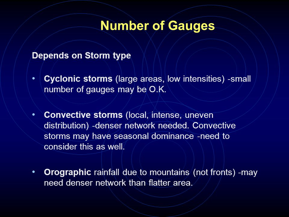 Number of Gauges Depends on Storm type