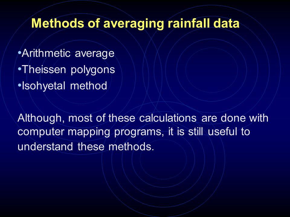 Methods of averaging rainfall data