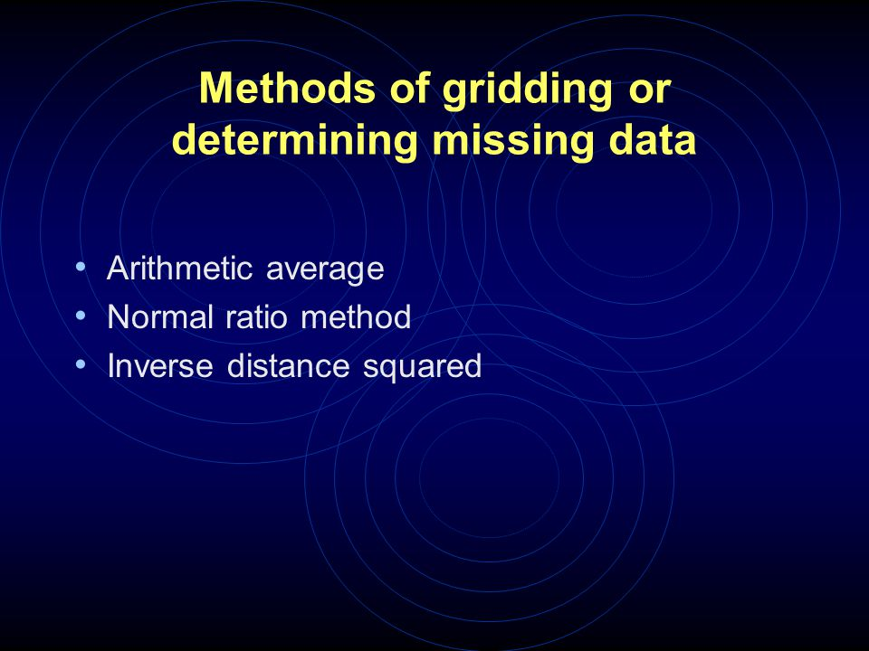Methods of gridding or determining missing data