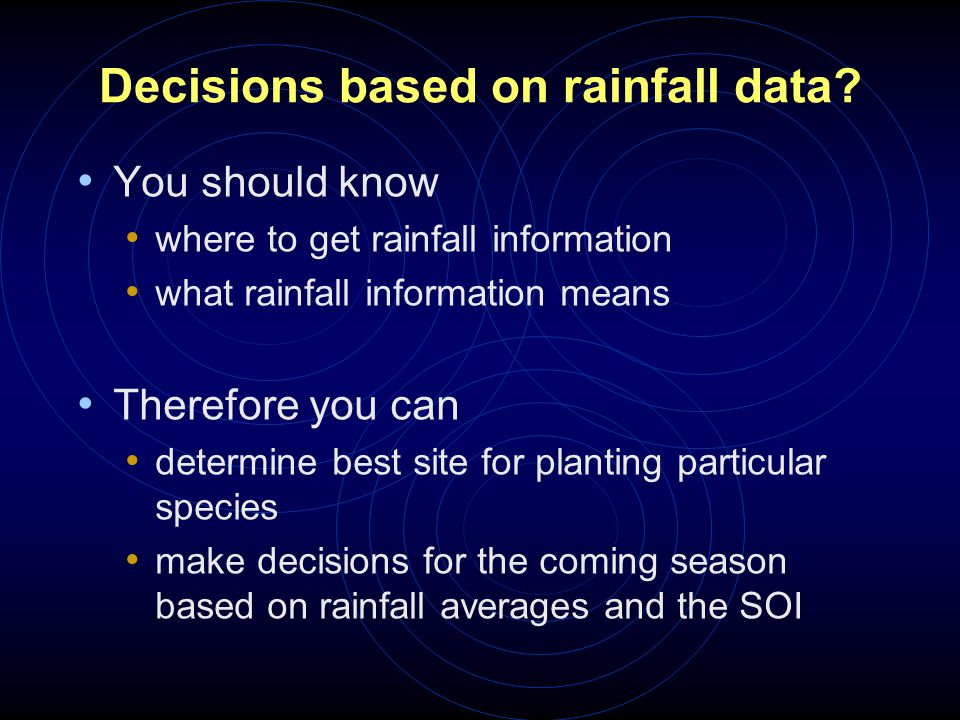 Decisions based on rainfall data