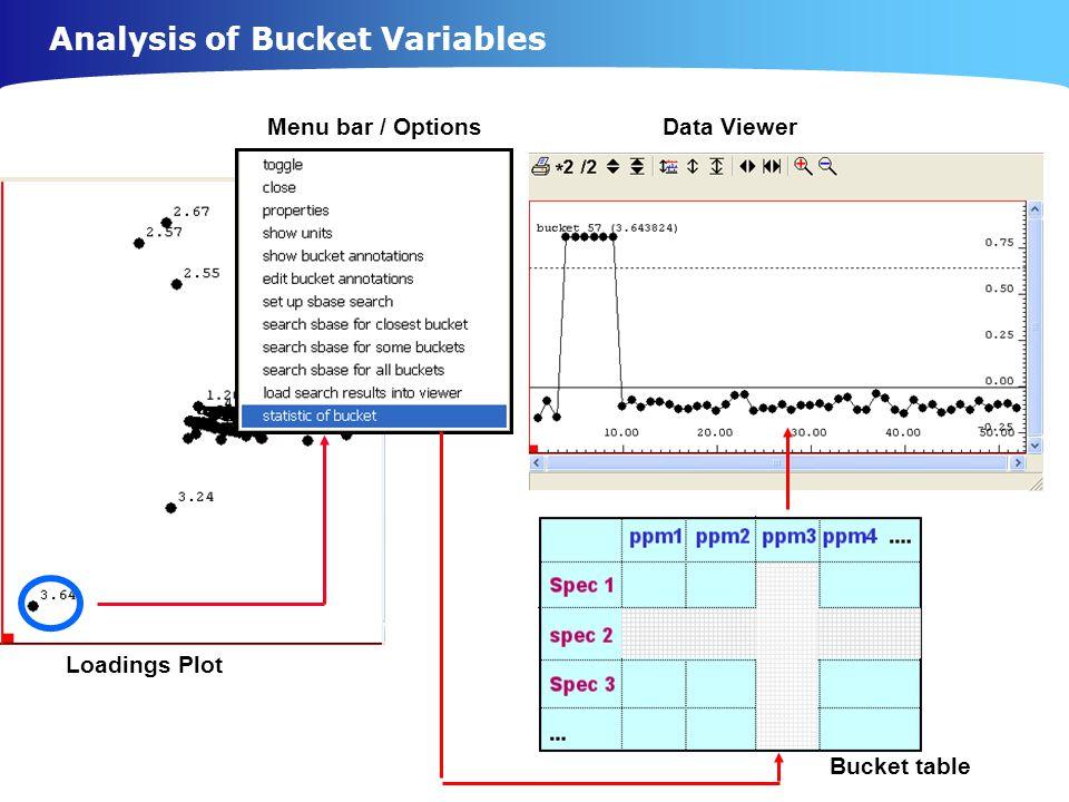 Menu bar / Options Data Viewer Loadings Plot Bucket table