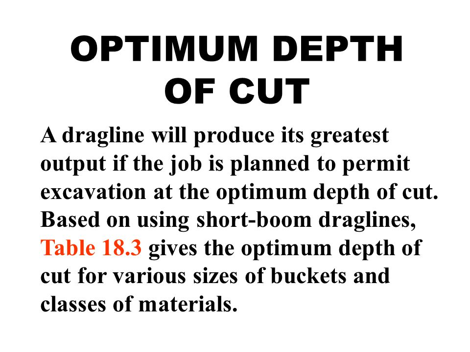 OPTIMUM DEPTH OF CUT