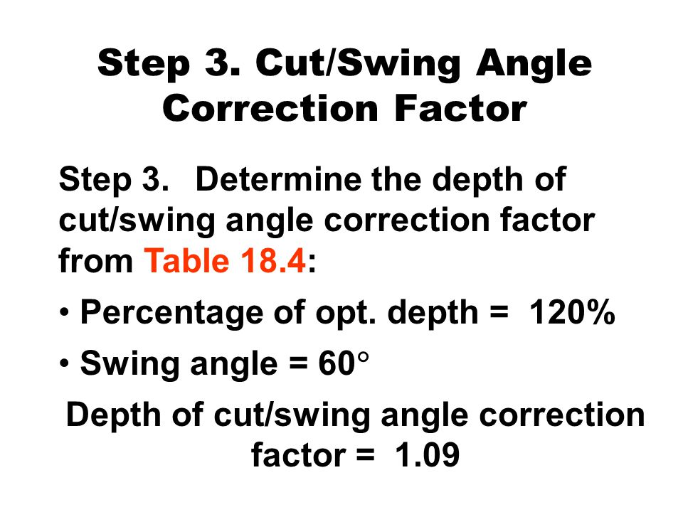 Step 3. Cut/Swing Angle Correction Factor