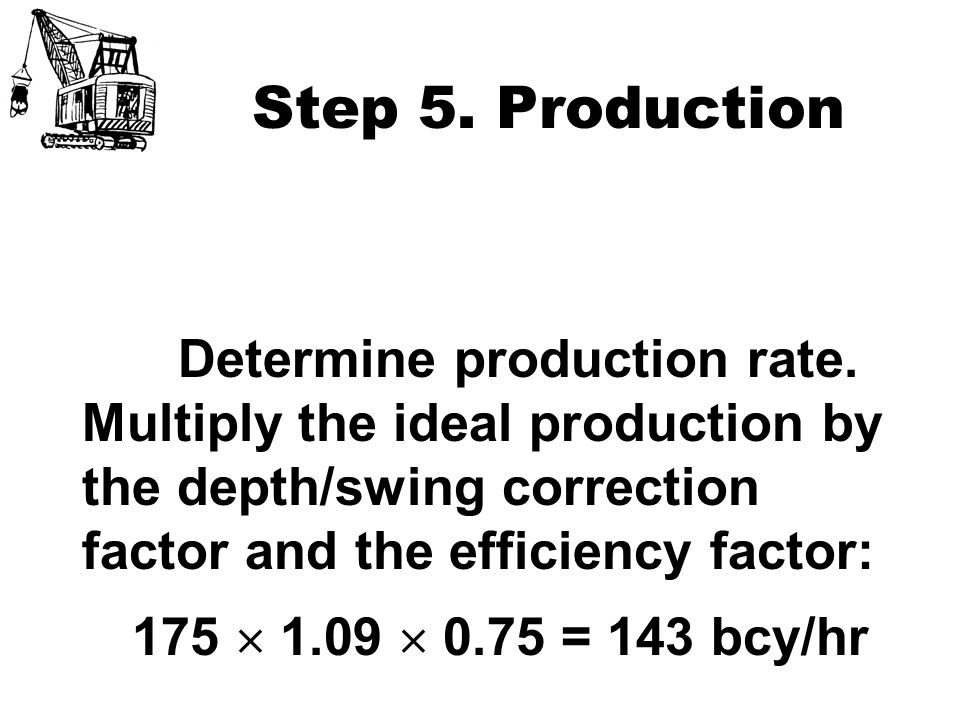 Step 5. Production 175  1.09  0.75 = 143 bcy/hr