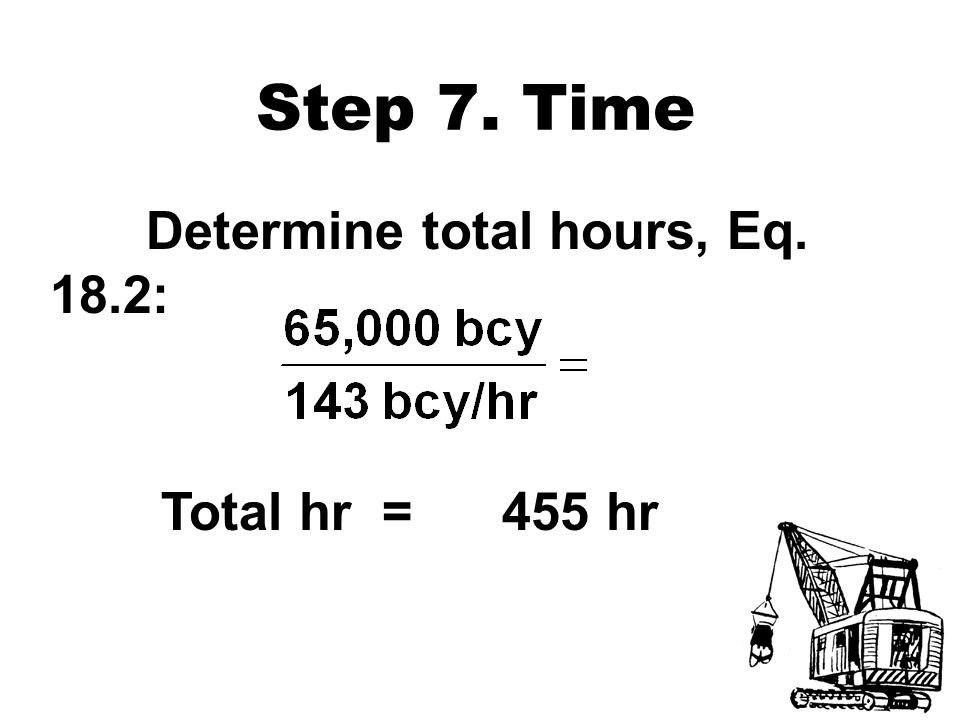 Step 7. Time Determine total hours, Eq. 18.2: Total hr = 455 hr