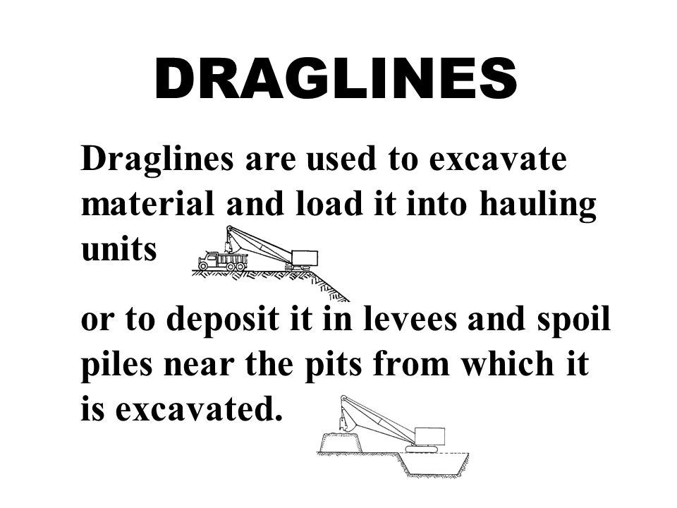 DRAGLINES Draglines are used to excavate material and load it into hauling units.