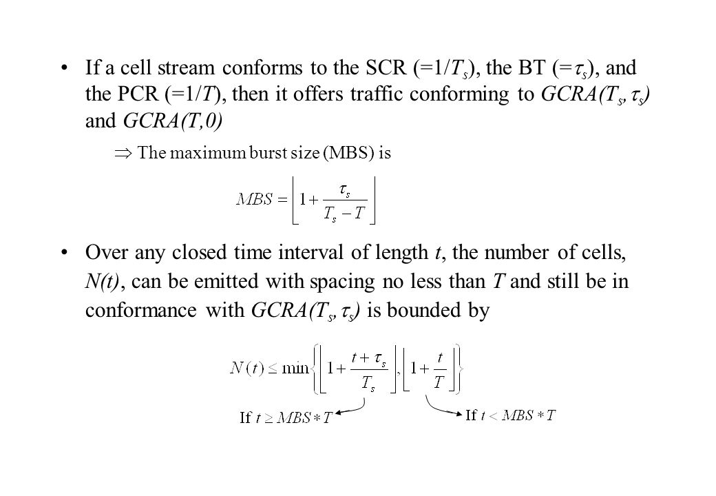 If a cell stream conforms to the SCR (=1/Ts), the BT (=s), and the PCR (=1/T), then it offers traffic conforming to GCRA(Ts,s) and GCRA(T,0)