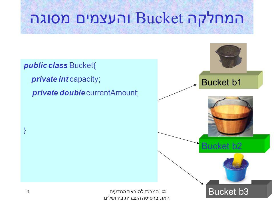המחלקה Bucket והעצמים מסוגה
