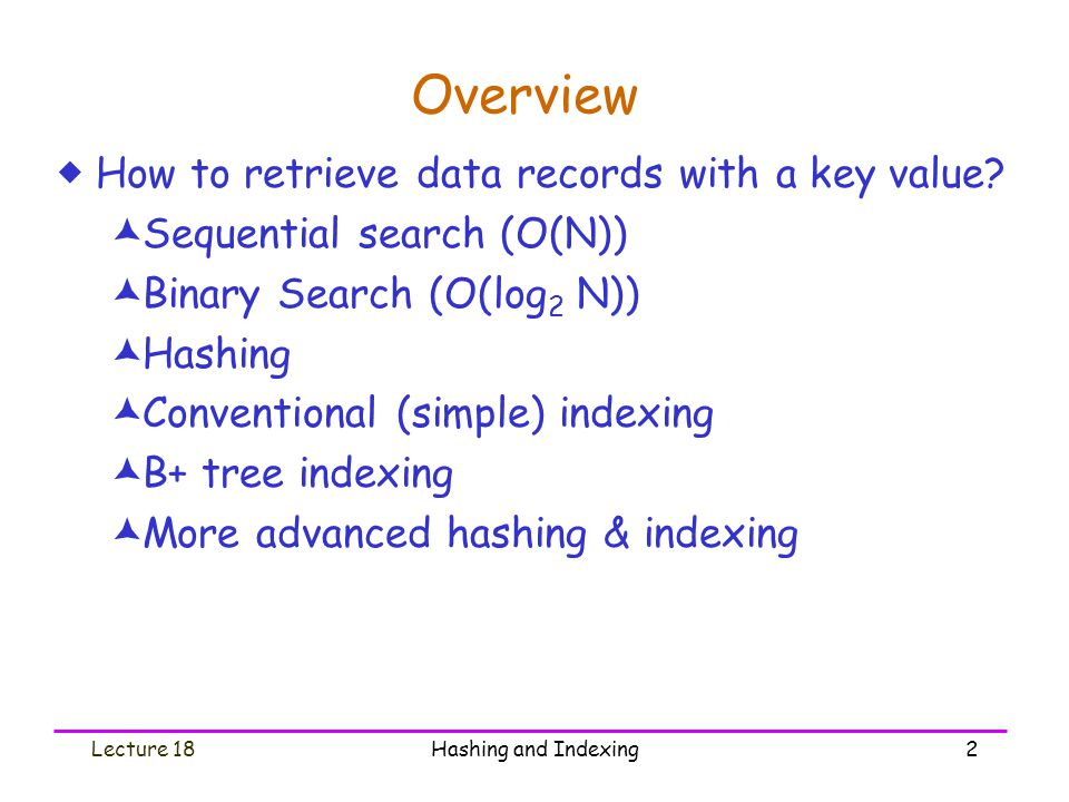 Overview How to retrieve data records with a key value