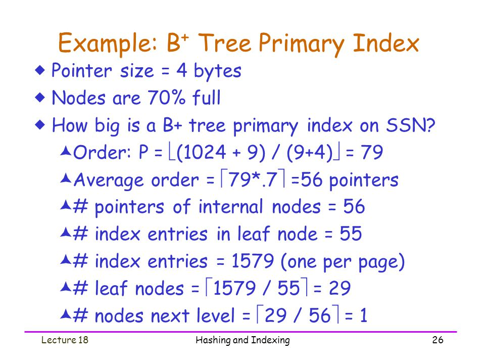 Example: B+ Tree Primary Index