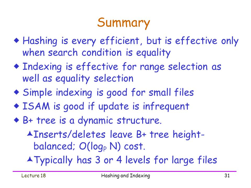 Summary Hashing is every efficient, but is effective only when search condition is equality.