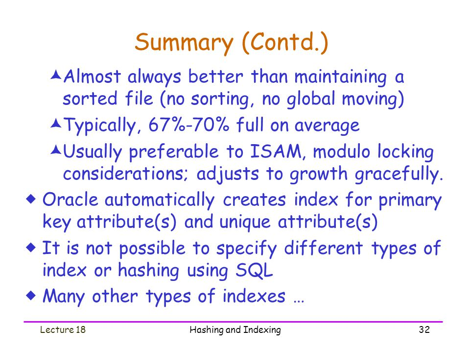 Summary (Contd.) Almost always better than maintaining a sorted file (no sorting, no global moving)