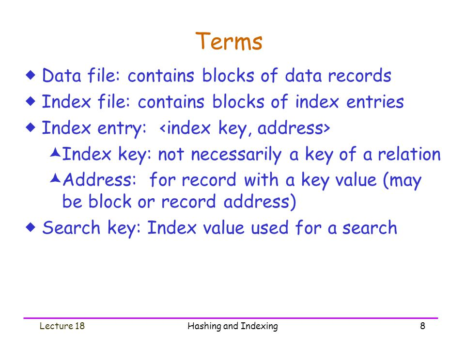 Terms Data file: contains blocks of data records