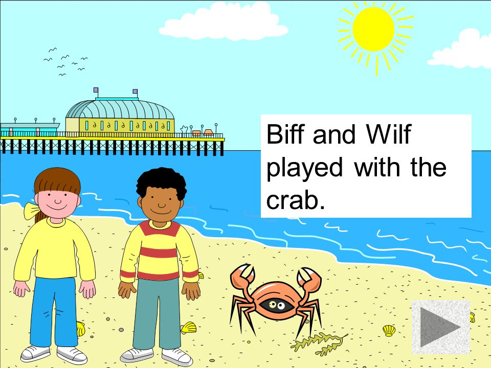 Biff and Wilf played with the crab.