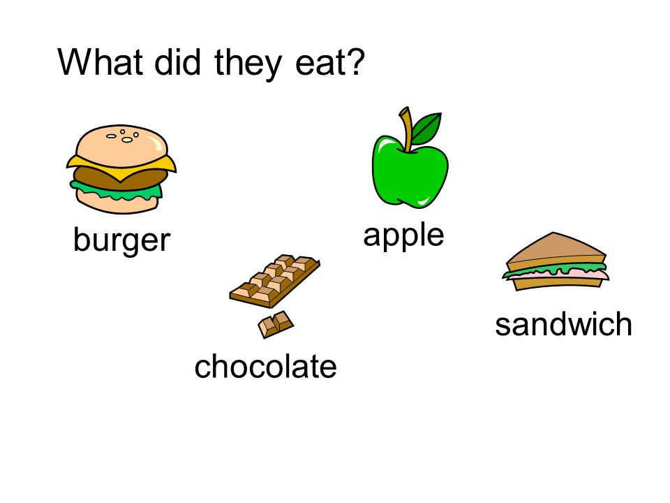 What did they eat apple burger sandwich chocolate