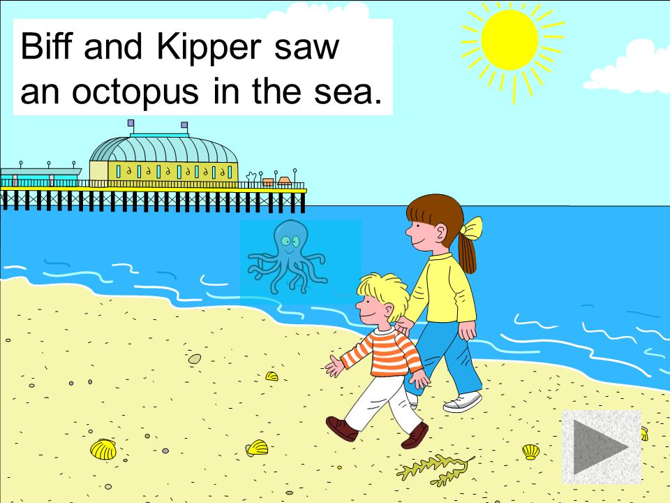Biff and Kipper saw an octopus in the sea.