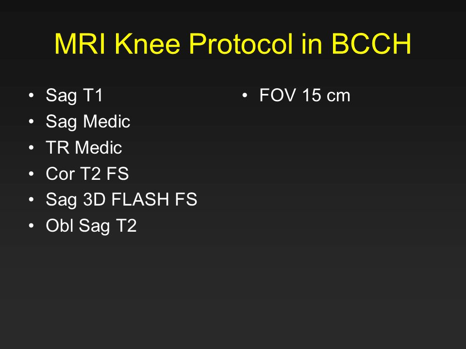 MRI Knee Protocol in BCCH