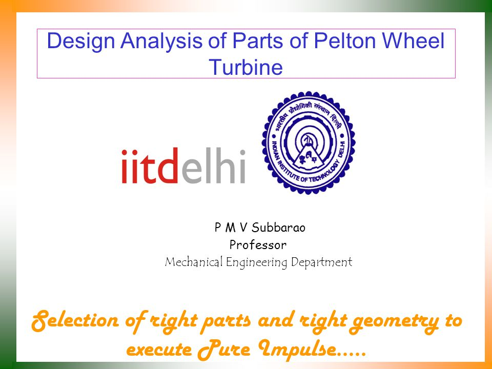 Design Analysis of Parts of Pelton Wheel Turbine