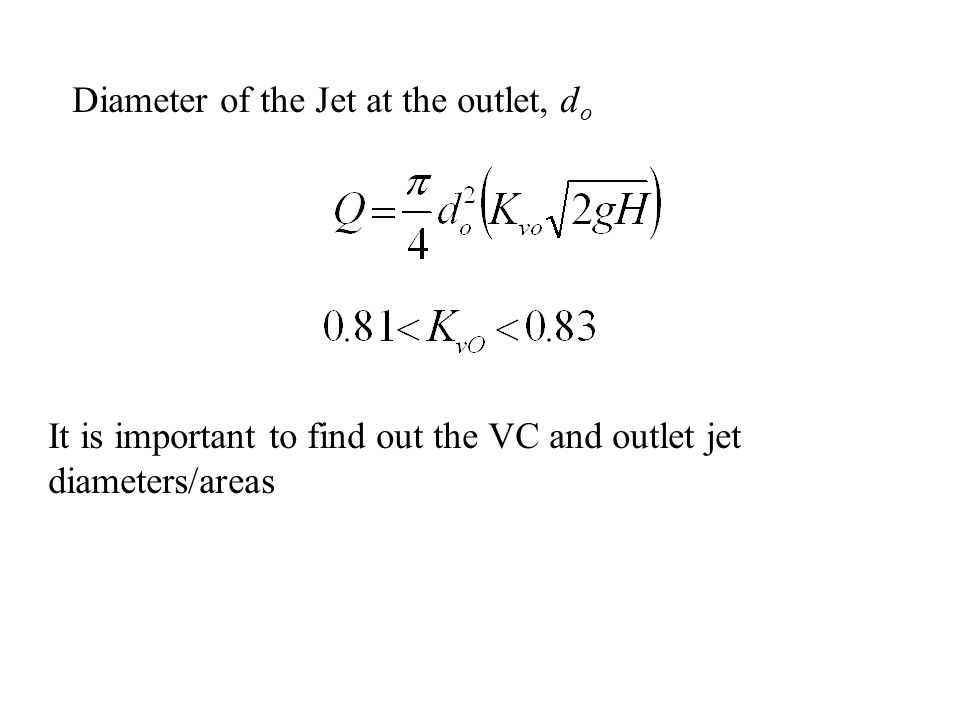 Diameter of the Jet at the outlet, do
