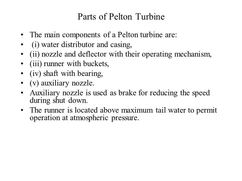 Parts of Pelton Turbine