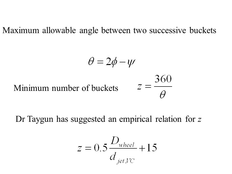Maximum allowable angle between two successive buckets