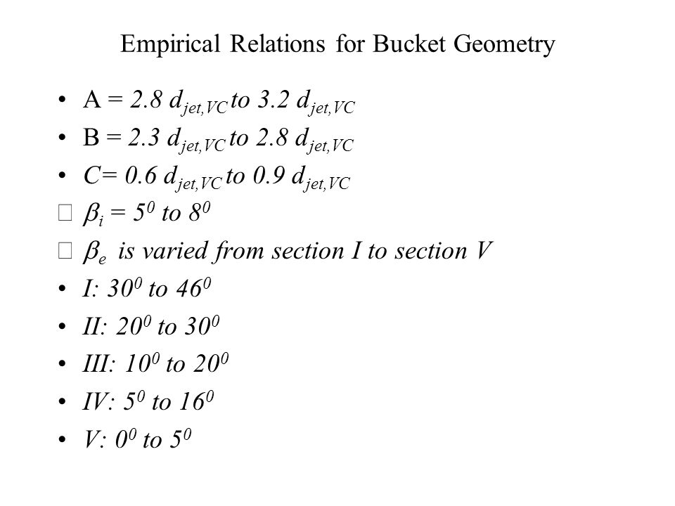 Empirical Relations for Bucket Geometry