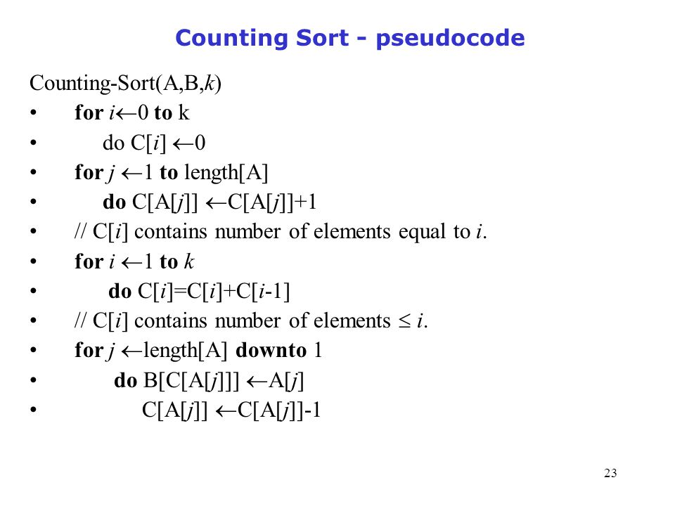 Counting Sort - pseudocode