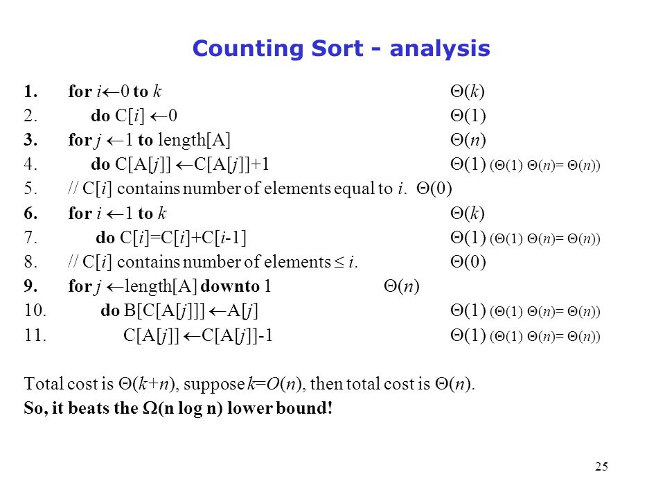 Counting Sort - analysis