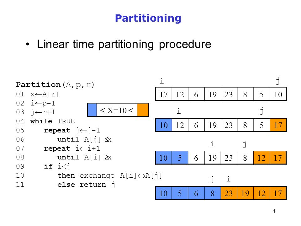 Linear time partitioning procedure