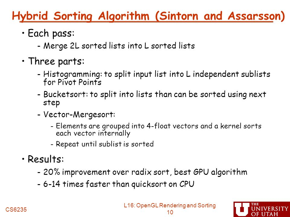 Hybrid Sorting Algorithm (Sintorn and Assarsson)