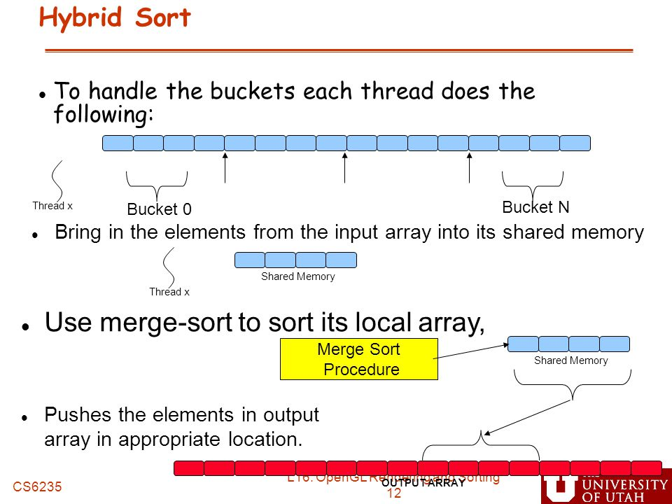 Use merge-sort to sort its local array,