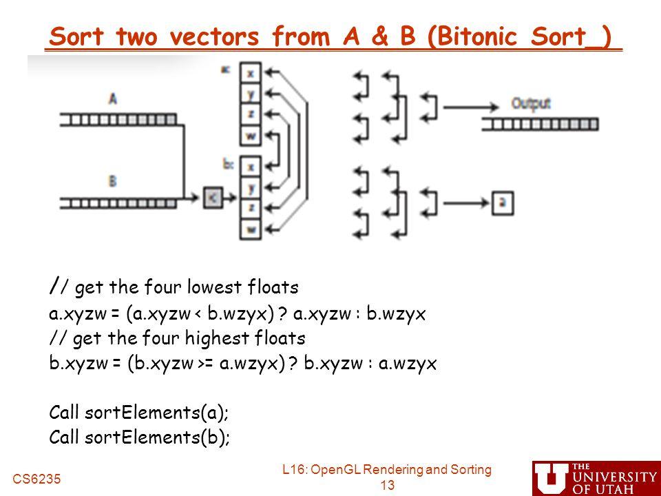 Sort two vectors from A & B (Bitonic Sort_)