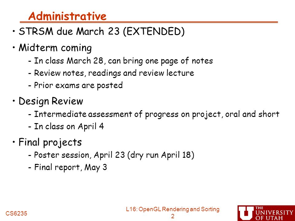 Administrative STRSM due March 23 (EXTENDED) Midterm coming