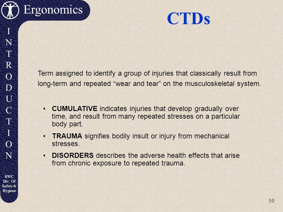 CTDs Term assigned to identify a group of injuries that classically result from.