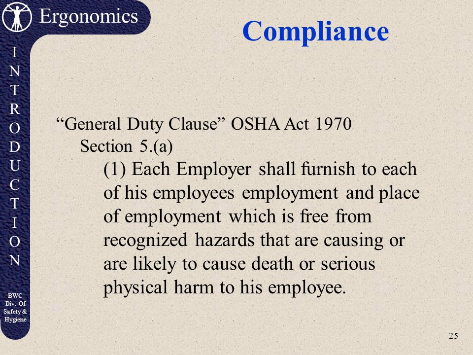 Compliance General Duty Clause OSHA Act 1970. Section 5.(a)