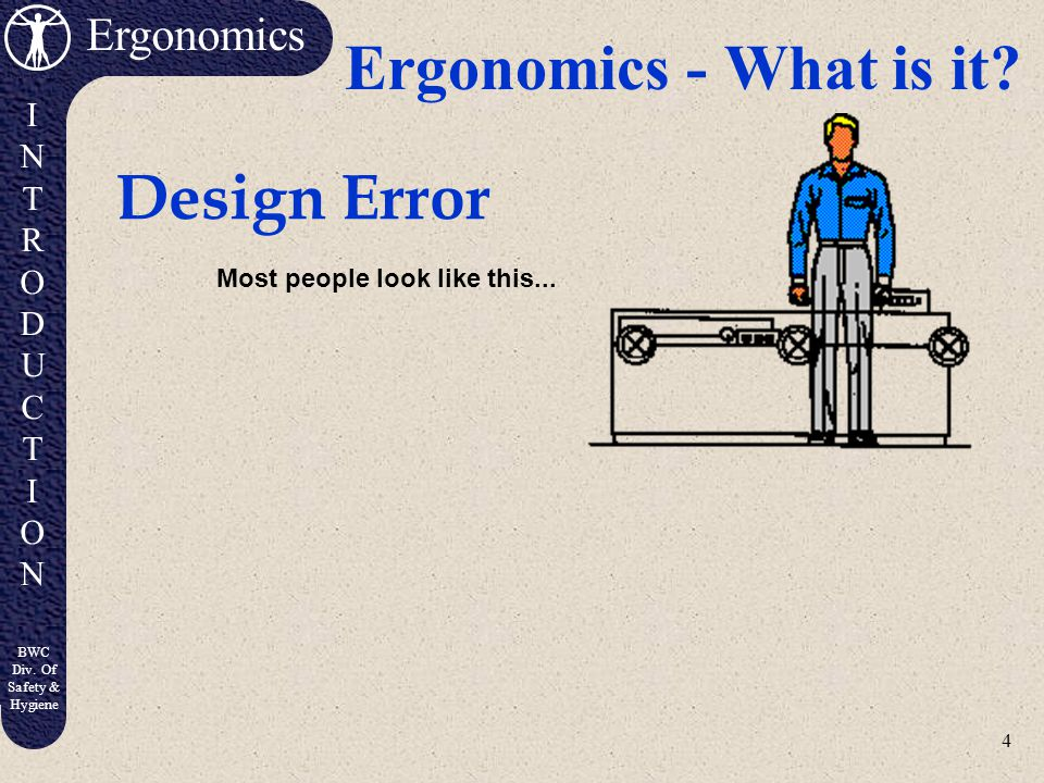 Ergonomics - What is it Design Error Most people look like this...