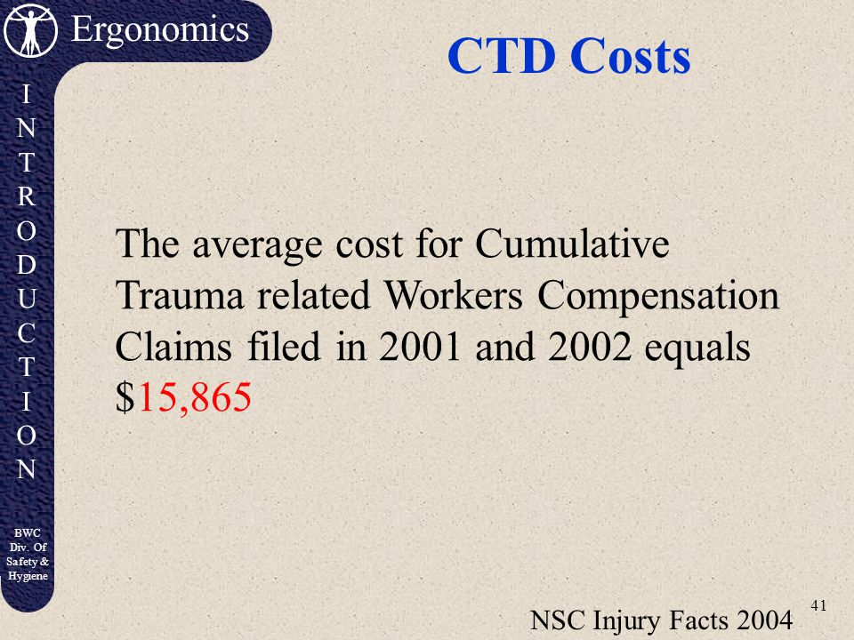 CTD Costs The average cost for Cumulative Trauma related Workers Compensation Claims filed in 2001 and 2002 equals $15,865.