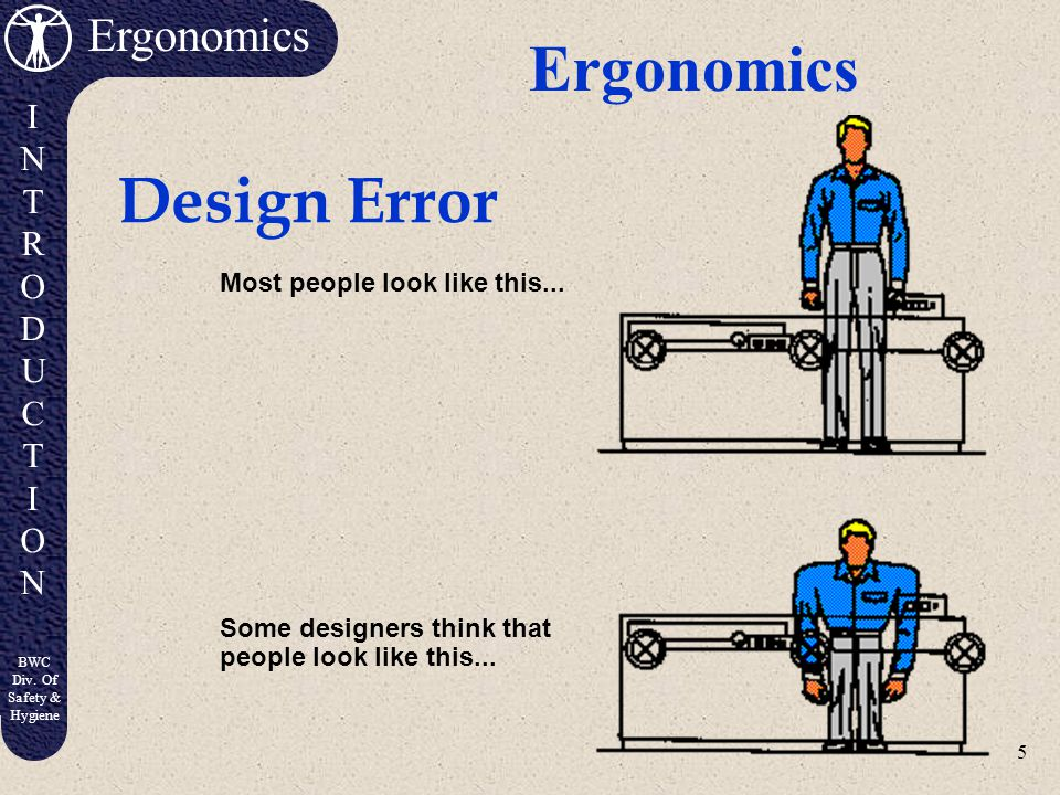 Ergonomics Design Error Most people look like this...