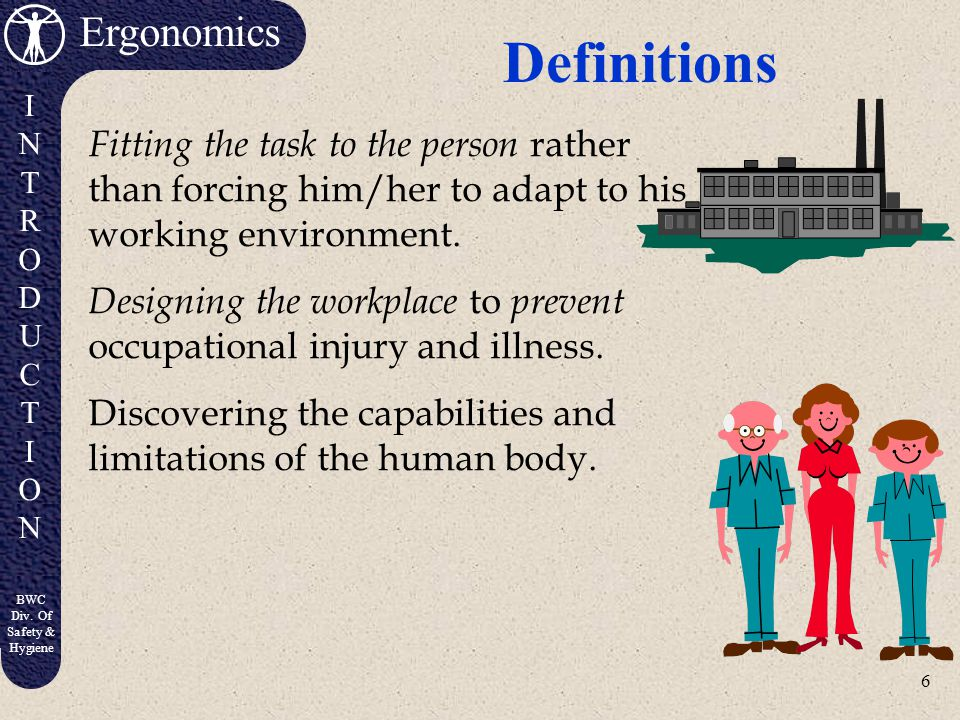 Definitions Fitting the task to the person rather than forcing him/her to adapt to his working environment.