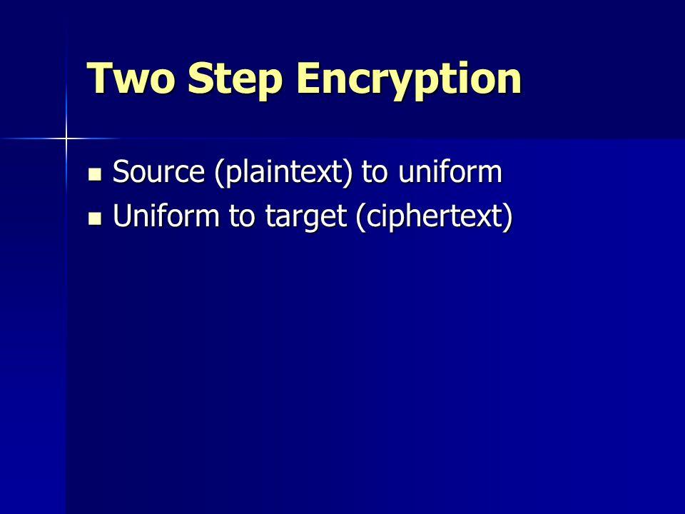 Two Step Encryption Source (plaintext) to uniform